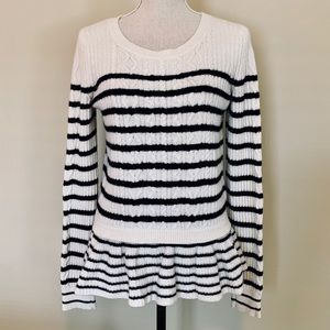 Banana Republic Striped Ruffled Sweater